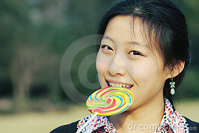 Young asian girl with Lollipop