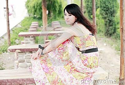 Young Asian girl relaxing