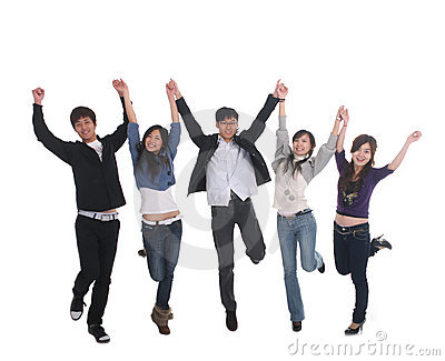 Young Asian group jumping