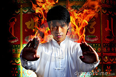 Young Asian Man with Kungfu Powers