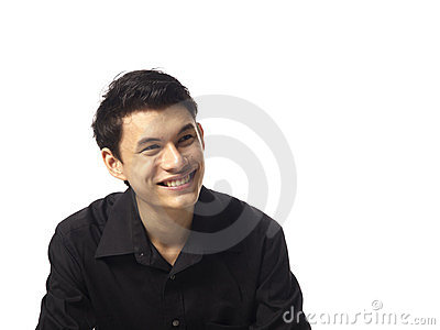 Young Asian Man looking up