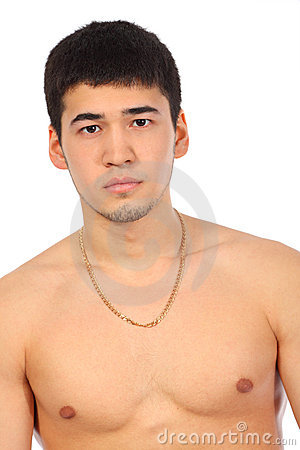Young Asian topless man