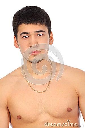 Young Asian topless man