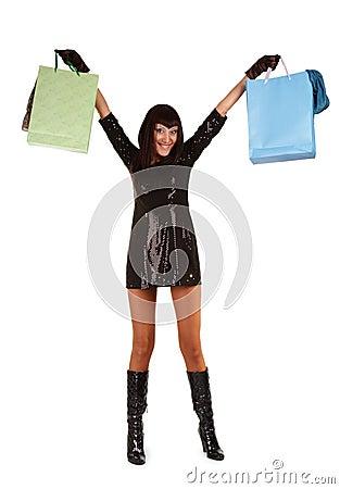 Young asian woman carrying shopping bag