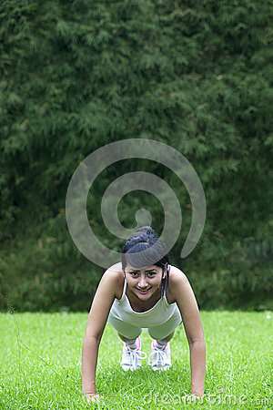 Young Asian woman exercising outdoor