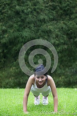 Young Asian woman exercising outdoor