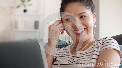 Young Asian woman has a video conference at home stock video