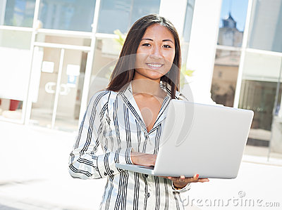 Young asian woman and laptop