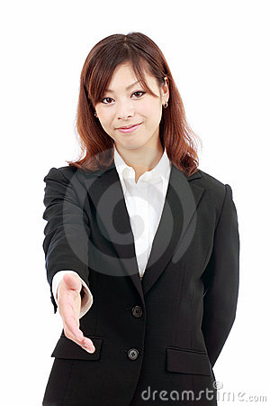 Young asian woman offering you handshake