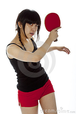 Young Asian woman with a ping-pong racket