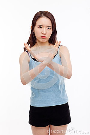 Young Asian woman show prohibit sign