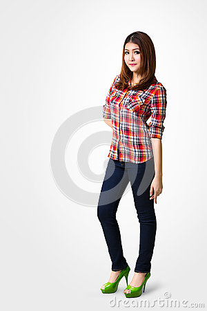 Young asian woman standing