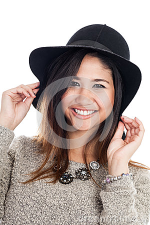 Young Asian woman wearing a hat