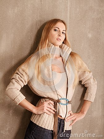 Young atractive fashionable blond girl