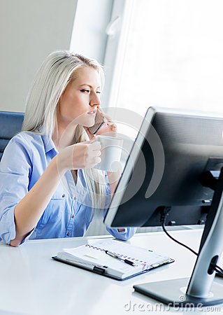 Free Young, Attractive And Confident Business Woman Working In Office Stock Photos - 55838263