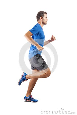 Free Young Attractive Athlete Running And Showing Perfect Running Tec Royalty Free Stock Images - 125244399