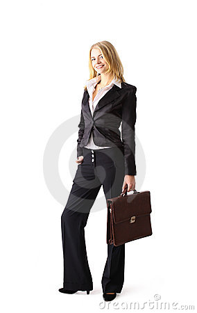 young attractive blonde business woman
