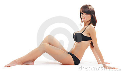 Young attractive brunette isolated over white