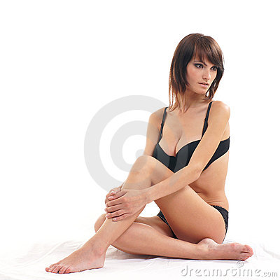 Young attractive brunette isolated on white