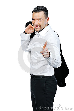 Young attractive business man pointing at you and smiling