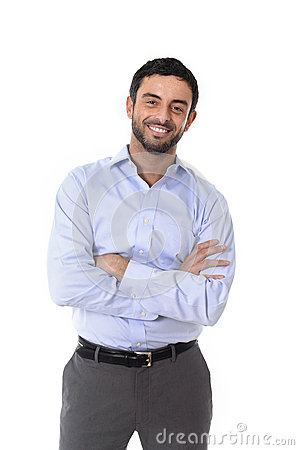 Free Young Attractive Business Man Standing In Corporate Portrait Isolated On White Background Royalty Free Stock Image - 43486226