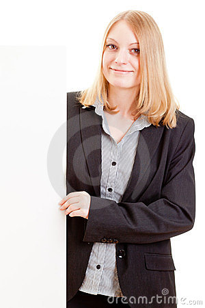 Young attractive business woman holding sign