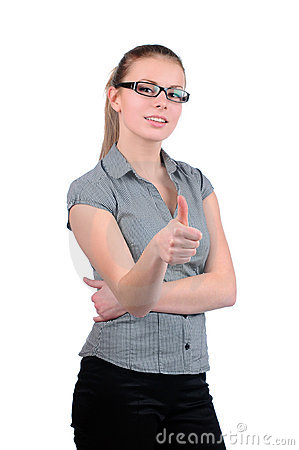 Young attractive businesswoman with thumb up