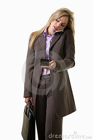 Young attractive caucasian blonde businesswoman