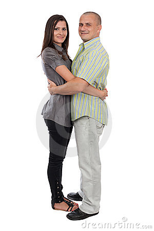 Young attractive couple isolated on white