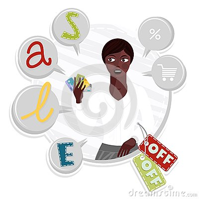 shopping sales with young african type woman