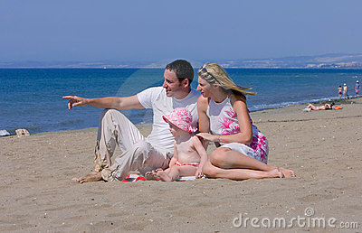 Young attractive family on vacation in Spain