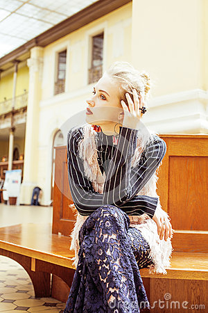 Free Young Attractive Fashion Lady On Railway Station Waiting, Vintag Stock Photography - 79249022