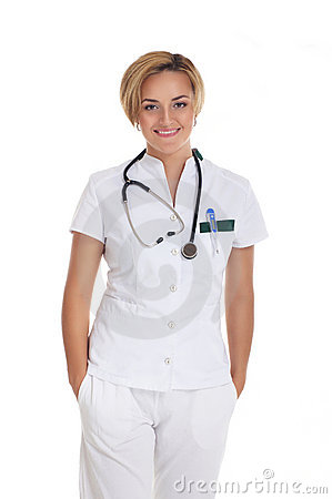 A young and attractive female doctor