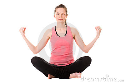 Young attractive female in yoga meditation pose