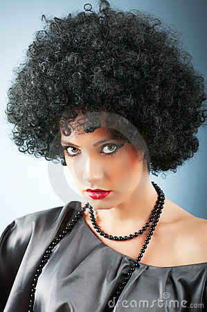 Young attractive girl with afro  haircut