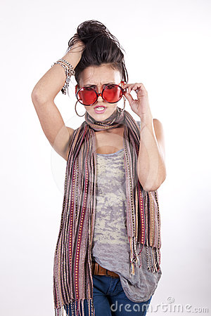 Young attractive girl with funny red sunglasses