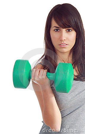 Young attractive girl lift a weight