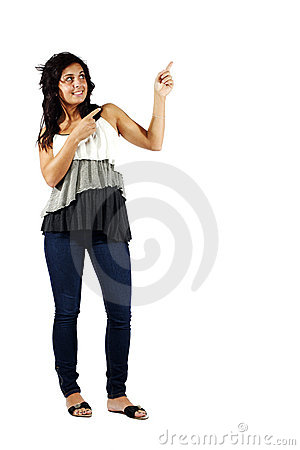 Young attractive girl pointing to her left