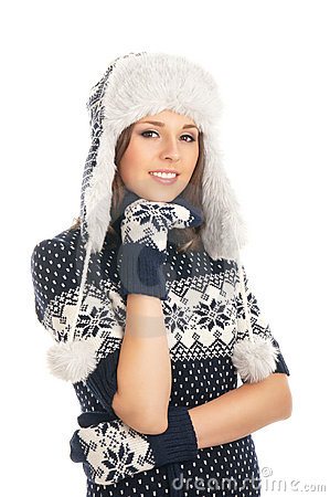 Young attractive girl in Scandinavian clothes