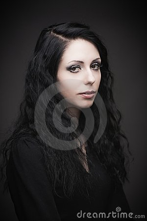 Young attractive gothic brunette woman