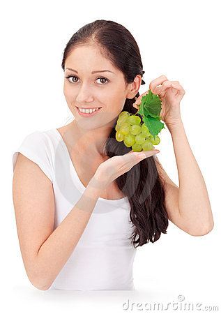 Young attractive lady with green grape cluster