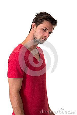 Young attractive man in red t-shirt