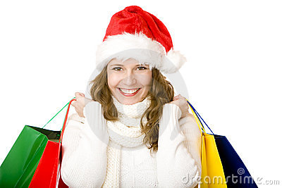 Young attractive Santa Claus woman doing shopping