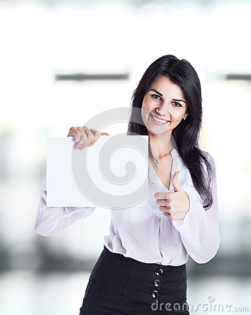 Free Young, Attractive, Successful Business Woman Shows Business Card Royalty Free Stock Images - 87483969