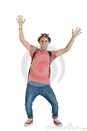 Free Young Attractive Tourist Guy With Hands In The Air And Straw Hat Isolated On White Stock Photography - 41834382