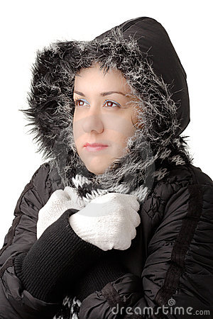 Young attractive woman feeling cold