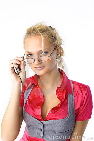 Young attractive woman with glasses look at you
