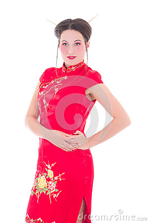 Young attractive woman in red japanese dress isolated on white