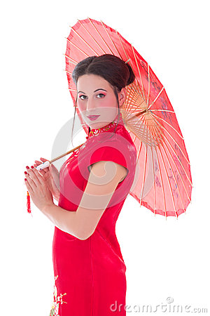 Young attractive woman in red japanese dress with umbrella isola