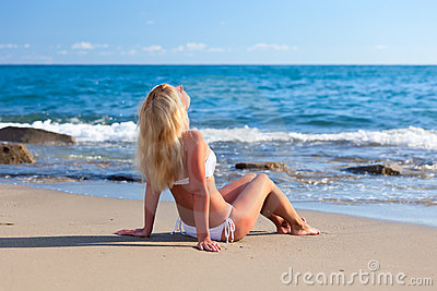 Young attractive woman relaxing on